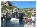Anchoring at Stiniva bay